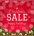 christmas sale card with bokeh vector image