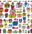 Colored gift boxes seamless patternHoliday vector image
