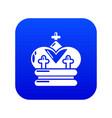 crown icon blue vector image vector image