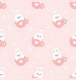 cute rabbit in a cup coffee seamless pattern vector image vector image
