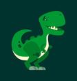 cute smiling dinosaur green dino character mascot vector image vector image