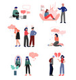depressed teenagers set cyber bullying conflict vector image vector image