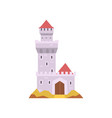 fairy-tale castle isolated on white stone fort vector image vector image