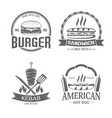 fast food and grill badges vector image vector image