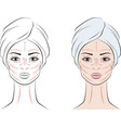female face with massage lines vector image