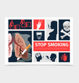 flat no smoking infographic template vector image