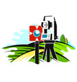 geodetic instrument and field with trees vector image vector image