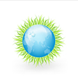 Globe With Grass And Water Drops vector image