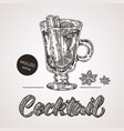 hand drawn sketch cocktail with text mulled wine vector image vector image