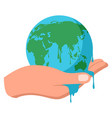 hand holding melting earth vector image vector image