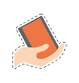 hand holding tablet technology shop online cut vector image