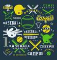 icons and badges set baseball team vector image vector image