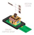 isometric online coffee shop infographics vector image vector image