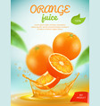 juice placard advertizing banner with orange vector image vector image