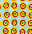 Lion Seamless pattern with funny cute animal face vector image vector image