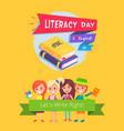 literacy day celebration vector image
