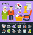 pensioner flat colored icon set vector image vector image