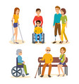 people on crutches carriages prostheses vector image