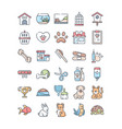 pet shop outline color icons set vector image