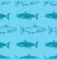 seamless pattern with salmons seafood pattern vector image vector image