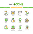 security - modern line design style icons set vector image