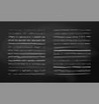 set chalk lines on chalkboard background hand vector image vector image