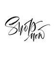shop now hand drawn lettering can be used vector image