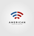 signal wifi logo symbol with american flag symbol vector image