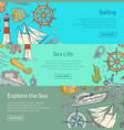 sketched sea horizontal banner templates vector image
