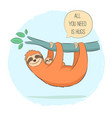 sloth with baon branch vector image vector image
