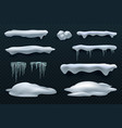 snow caps and icicles snowball and snowdrift vector image vector image