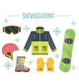 Snowboard equipment- jacket boots helmet vector image vector image