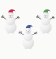 snowman in santa claus hat set buttons instead vector image