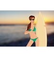 Surfer girl portrait vector image