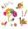 Traditional birds and flowers vector image vector image