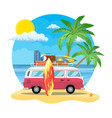 travel van with surfboard and suitcases vector image