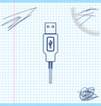usb cable cord line sketch icon isolated on white vector image vector image