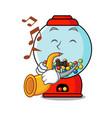 with trumpet gumball machine mascot cartoon vector image vector image