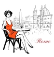 woman sitting in cafe vector image vector image