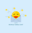 world smiley day concept background flat style vector image