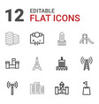 12 tower icons vector image vector image