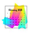 2020 calendar design abstract concept february vector image vector image