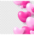 air balloons form hearts transparent background vector image vector image