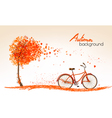 autumn nature banners with a tree and a bicycle vector image vector image