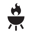 barbecue fire isolated on white black silhouette vector image