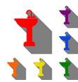 bathroom sink sign set of red orange yellow vector image vector image