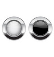 black and white round buttons glass 3d shiny vector image vector image