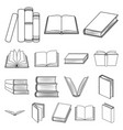 book in the binding outline icons in set vector image