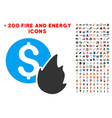 burn money icon with bonus power set vector image vector image