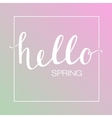 Calligraphic text Hello Spring on blured vector image vector image